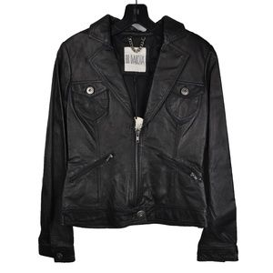 Black Faux Leather Chain Motorcycle Jacket